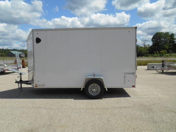 2020 Stealth Titan, 6x12, barn doors, white, enclosed trailer, single axle, 3500# axle