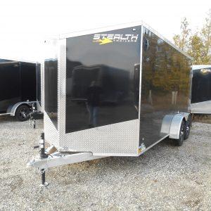7x16 Cobra, aluminum enclosed trailer, black, ramp door
